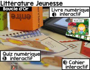Ebook et Cahier interactif de Boucle d'or  + 20 questions Quiz sur iPad