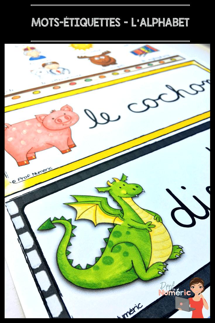 L'alphabet avec les mots de vocabulaire