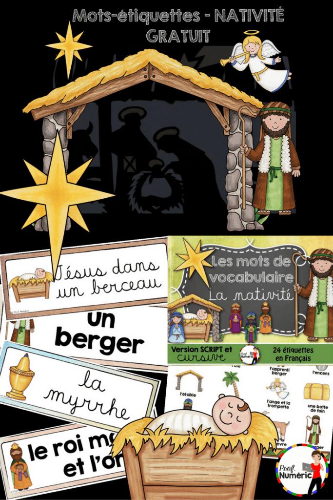 Mots-étiquettes Nativité - GRATUIT