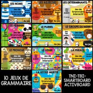 10 Jeux de grammaire pour TNI au primaire, Activités TBI de grammaire