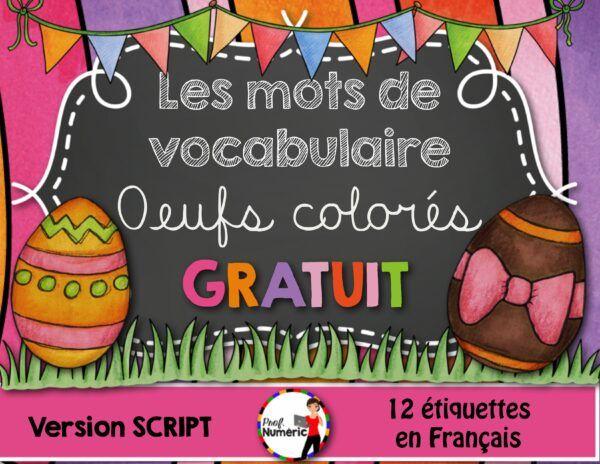 GRATUIT- Mots-étiquettes de Pâques - OEUFS COLORÉS