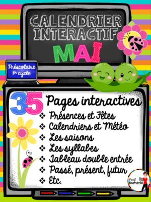 Calendrier TNI de mai - 35 pages interactifs au 1er cycle du primaire
