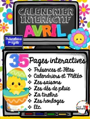 Calendrier interactif d'AVRIL pour le thème de Pâques au 1er cycle du primaire