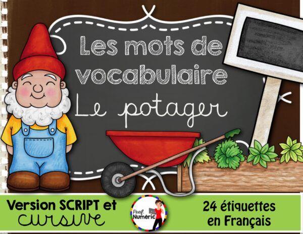 Mots-étiquettes LE POTAGER - Script et cursif