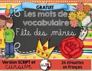 FREEBIE- Fête des mères - 24 mots étiquettes (script/cursif))