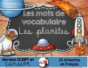 LES PLANÈTES - 24 Mots-étiquettes (script/cursif)