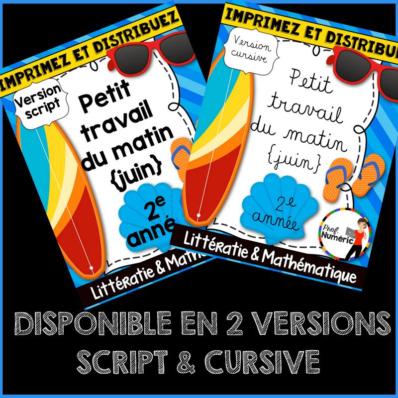 JUIN – Petit travail du matin (2e année)- Script/Cursif