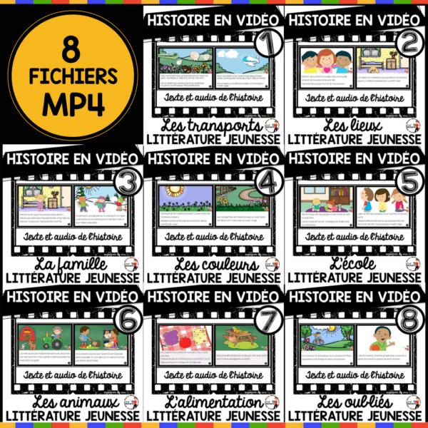 8 Fichiers vidéo - Histoire AUDIO de littérature jeunesse