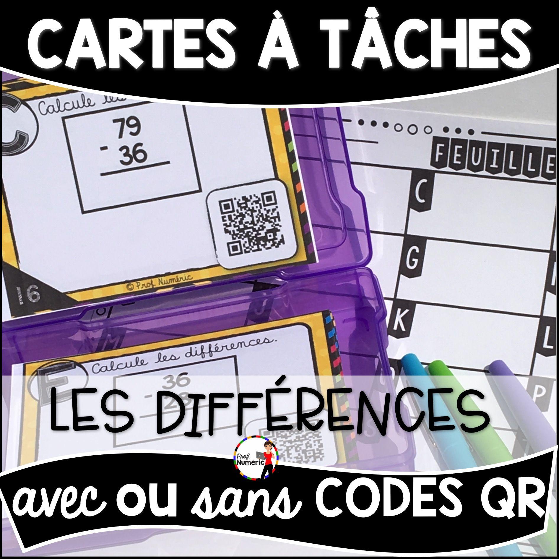 Cartes à Tâches CODES QR (Les Différences)