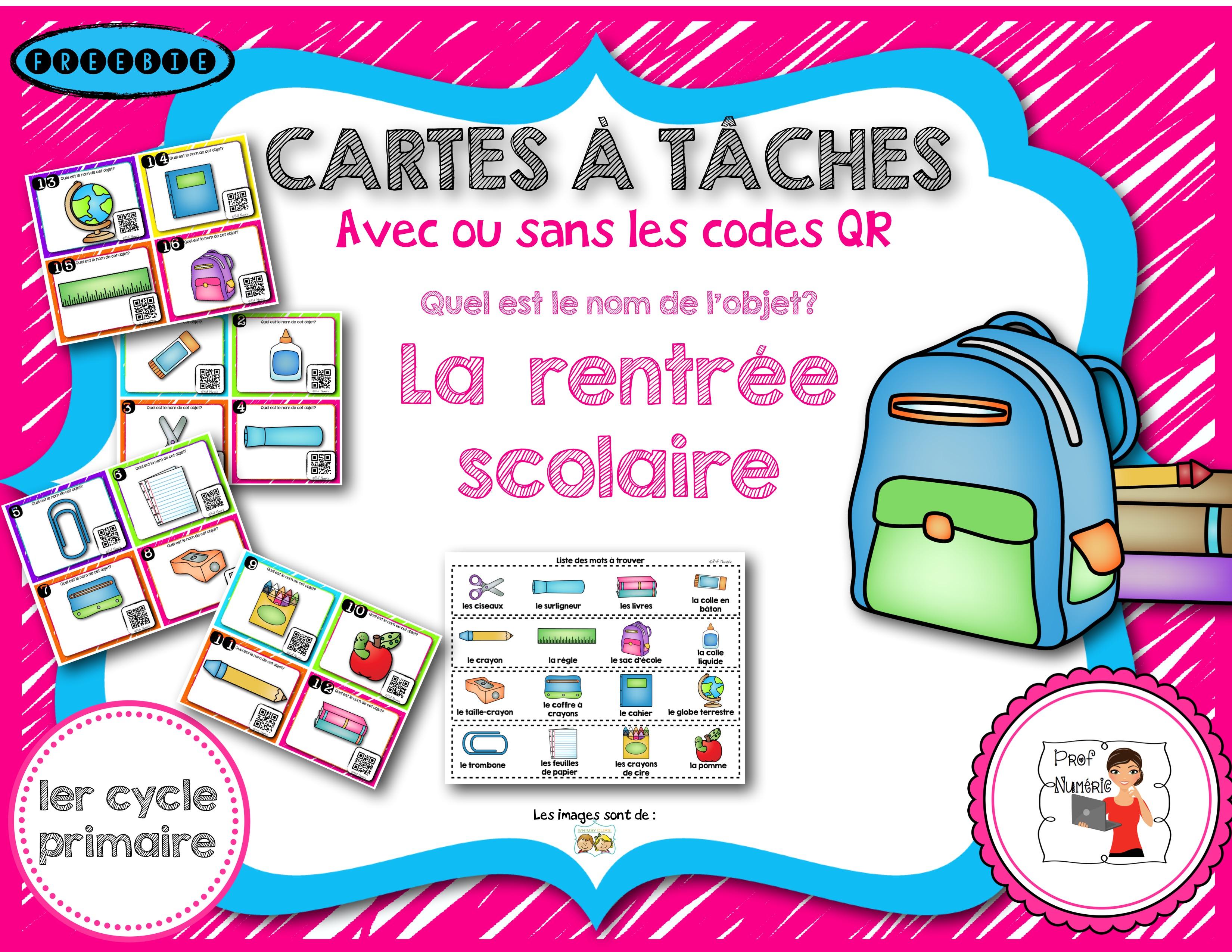 Cartes à Tâches de la rentrée scolaire (GRATUIT)