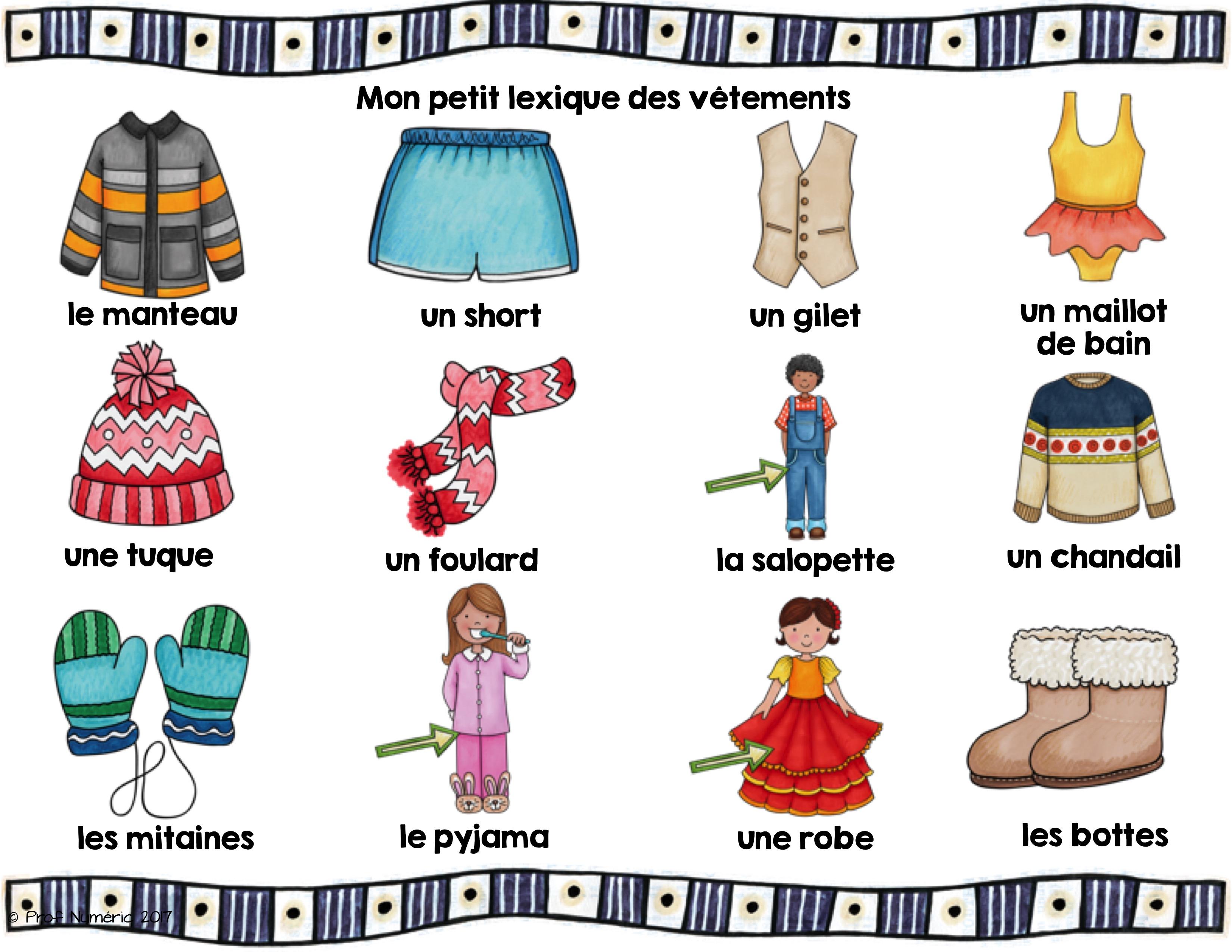 Les v tements mots tiquettes script et cursif prof - Les vetements d hiver ...