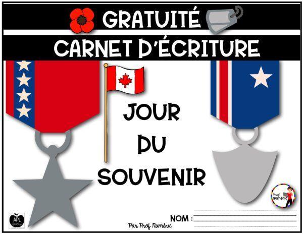 Carnet d'écriture Jour du Souvenir - GRATUIT