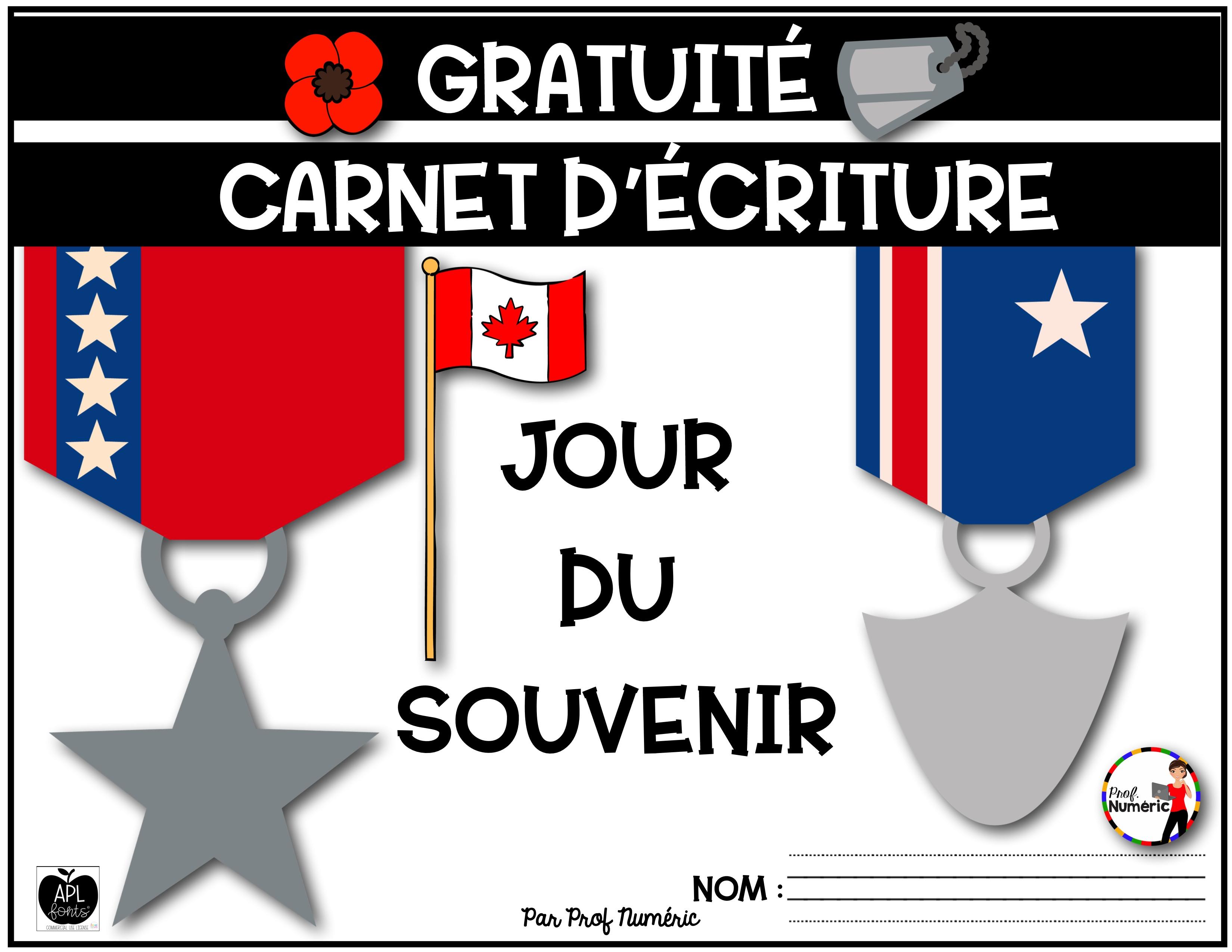 Carnet d'écriture – Jour du Souvenir – 1er cycle – GRATUIT