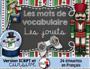 Mots-étiquettes LES JOUETS - 24 affiches Script/Cursif