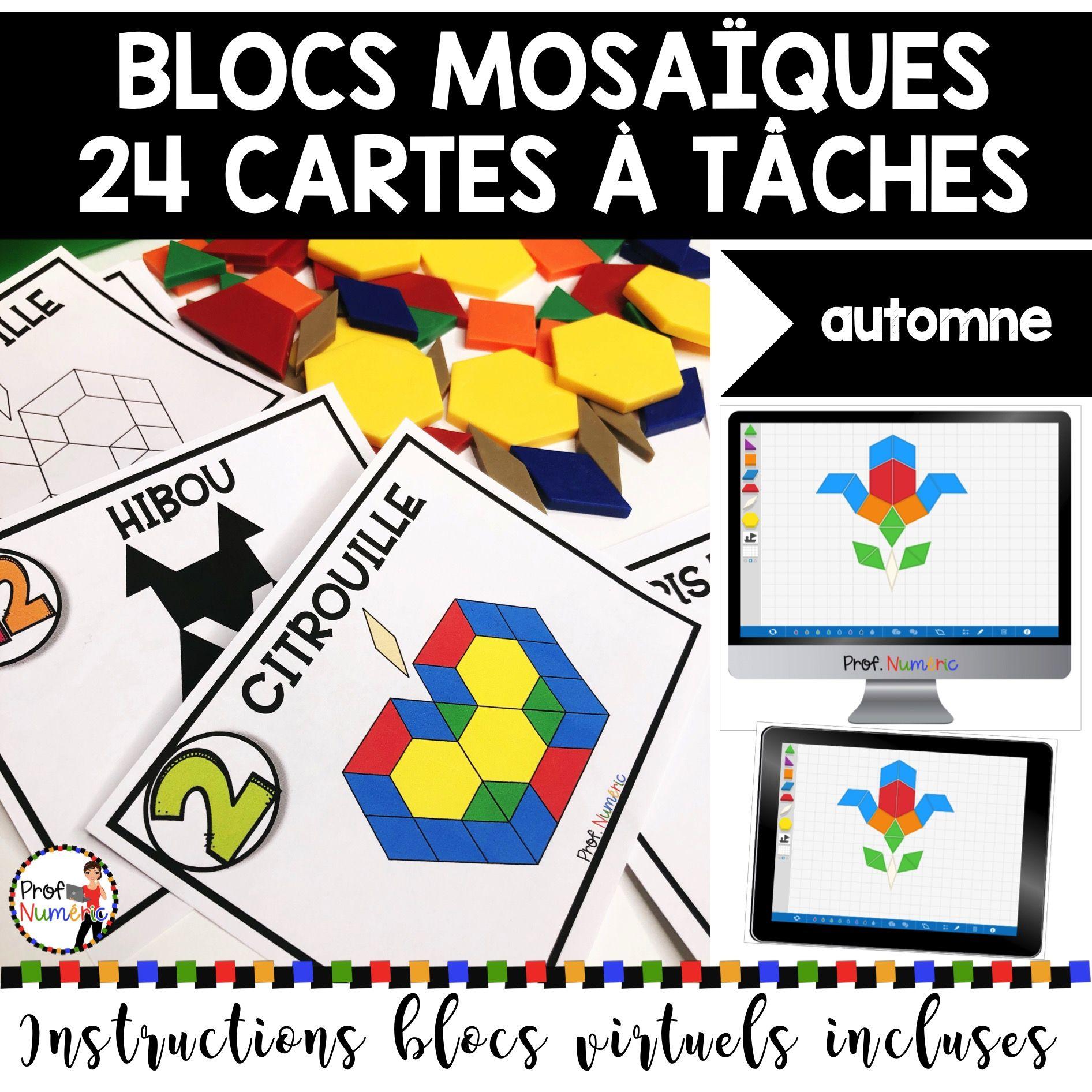 BLOCS MOSAÏQUES – 24 Cartes à Tâches (imprimer/virtuel) THÈME AUTOMNE
