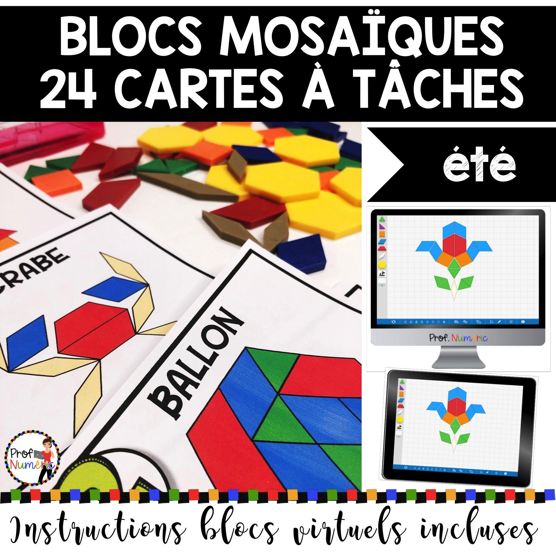 BLOCS MOSAÏQUES – 24 Cartes à Tâches (imprimer/virtuel) THÈME ÉTÉ
