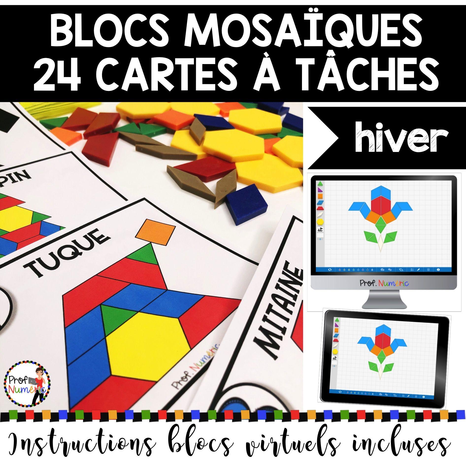 BLOCS MOSAÏQUES – 24 Cartes à Tâches (imprimer/virtuel) THÈME HIVER