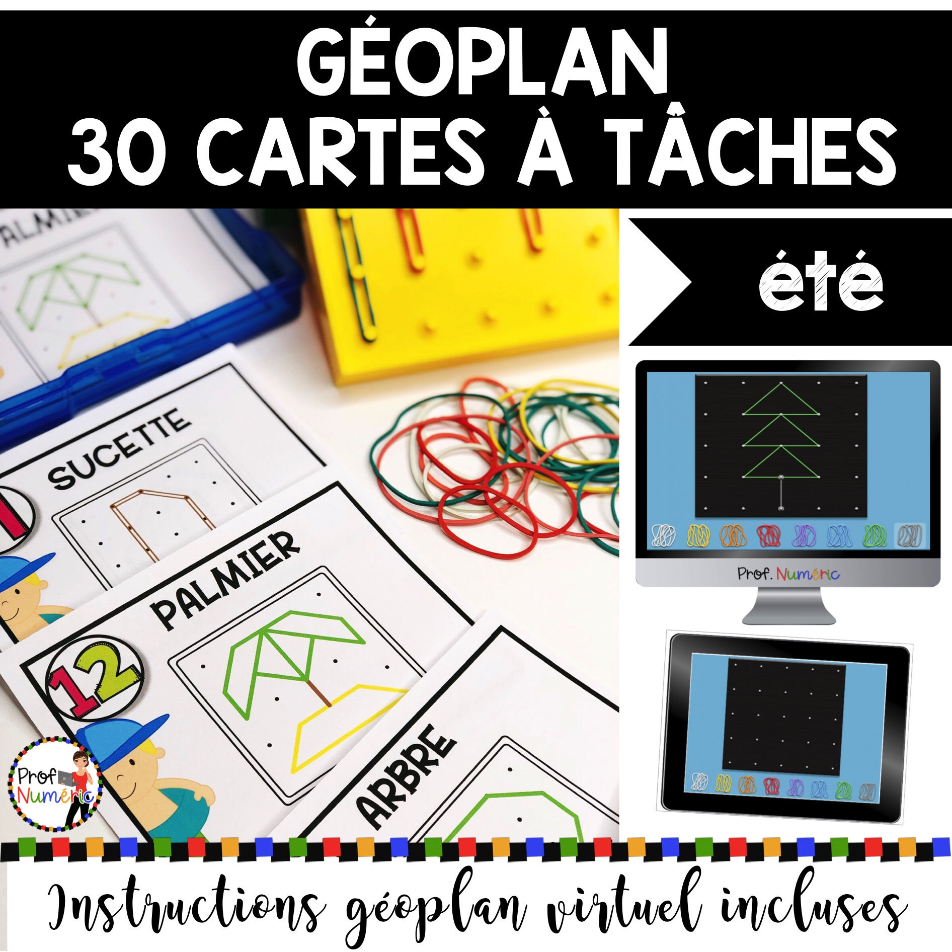 GÉOPLAN – 30 Cartes à Tâches (imprimer/virtuel) THÈME ÉTÉ