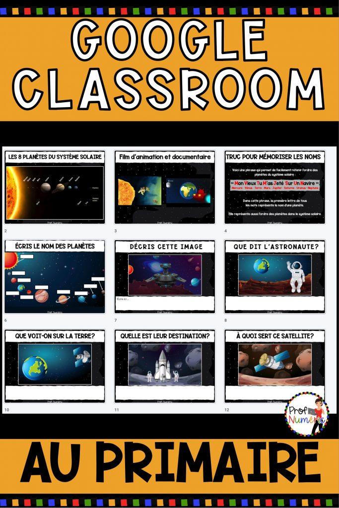 Google classroom au primaire - Activité Google Slides sur le sytème solaire